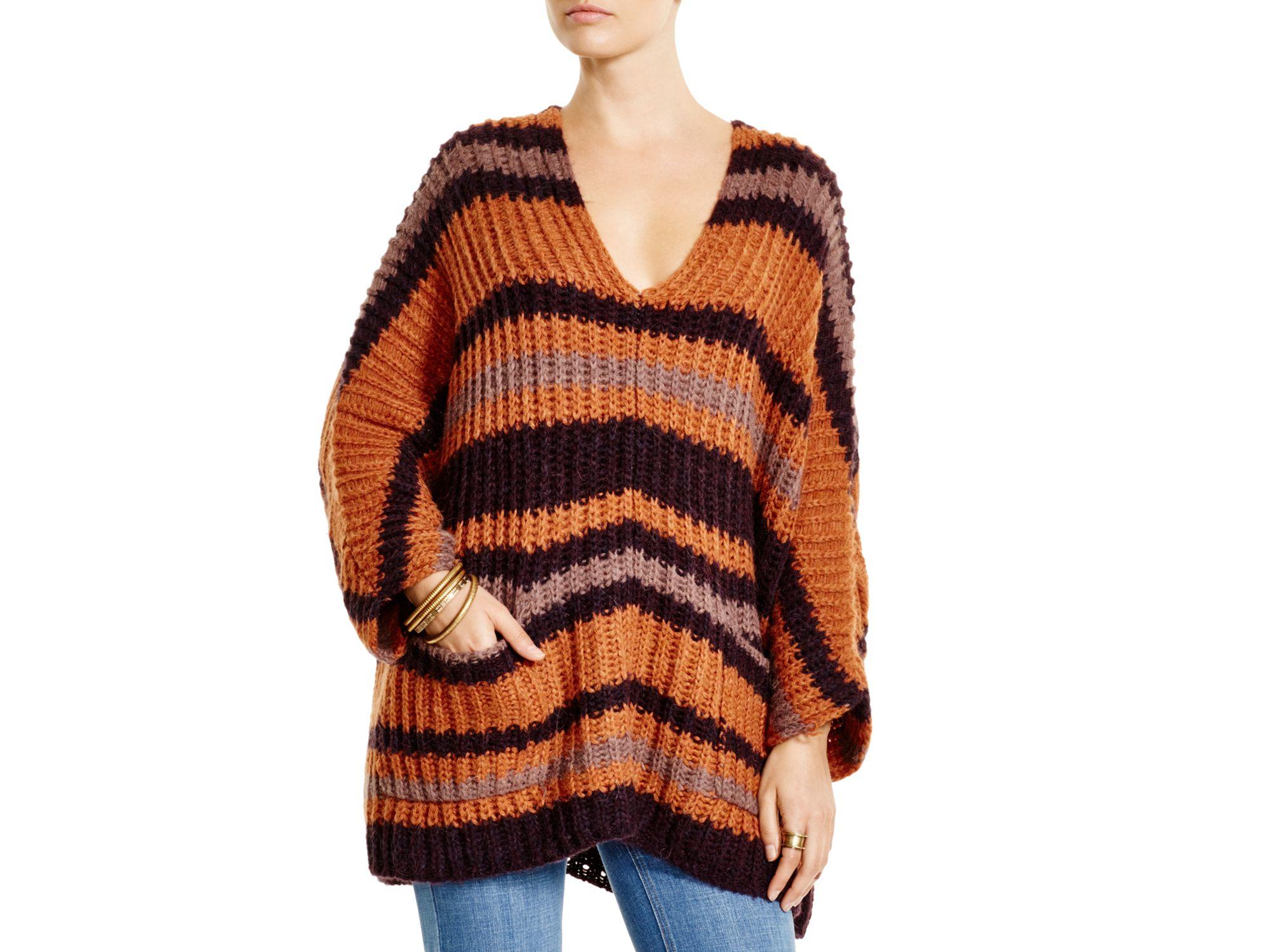 Free people Striped Sweater in Orange | Lyst