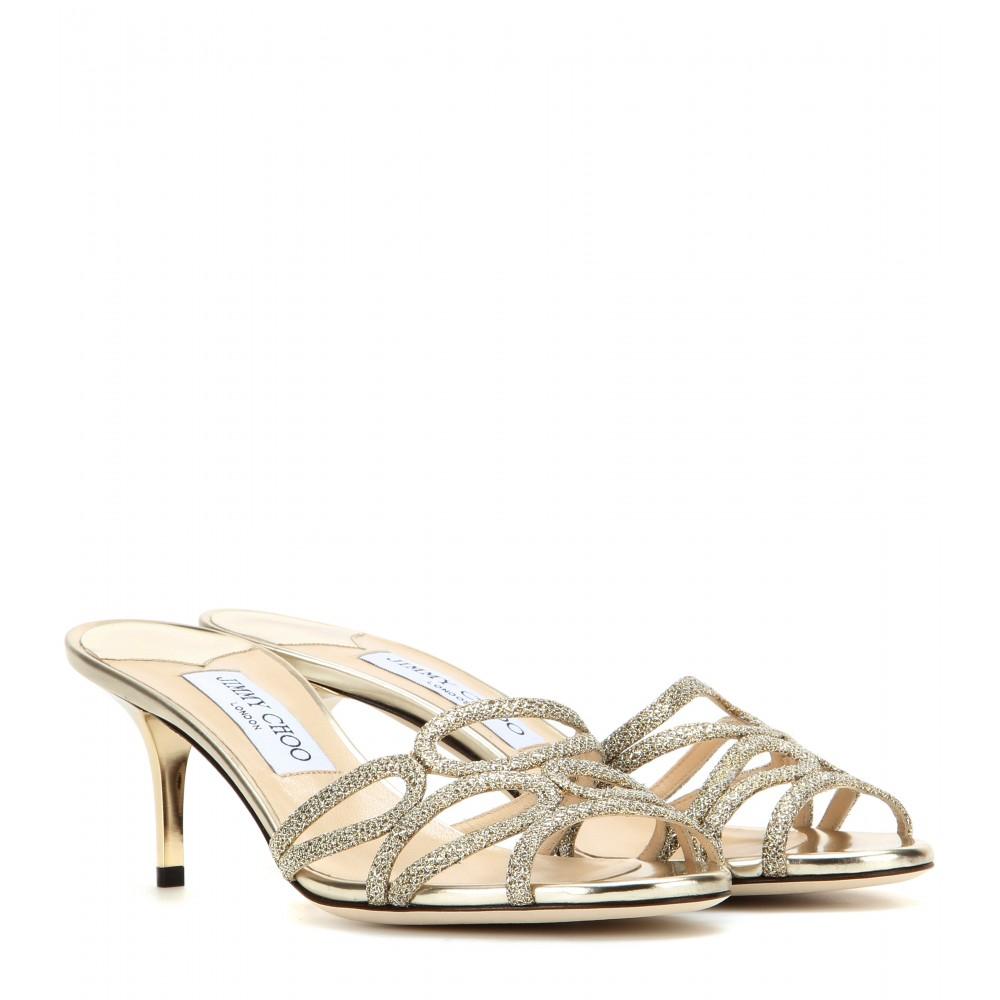 Kitten Heel Gold Sandals - Is Heel
