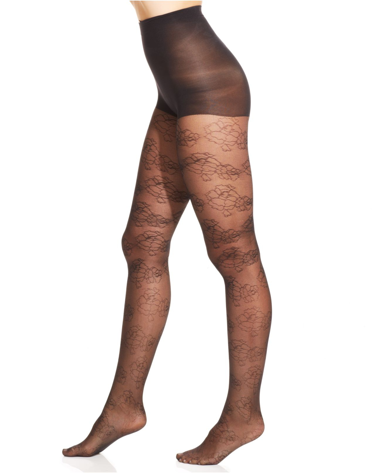 336f336af96 Hue Fine Floral Sheer Tights With Control Top in Natural - Lyst