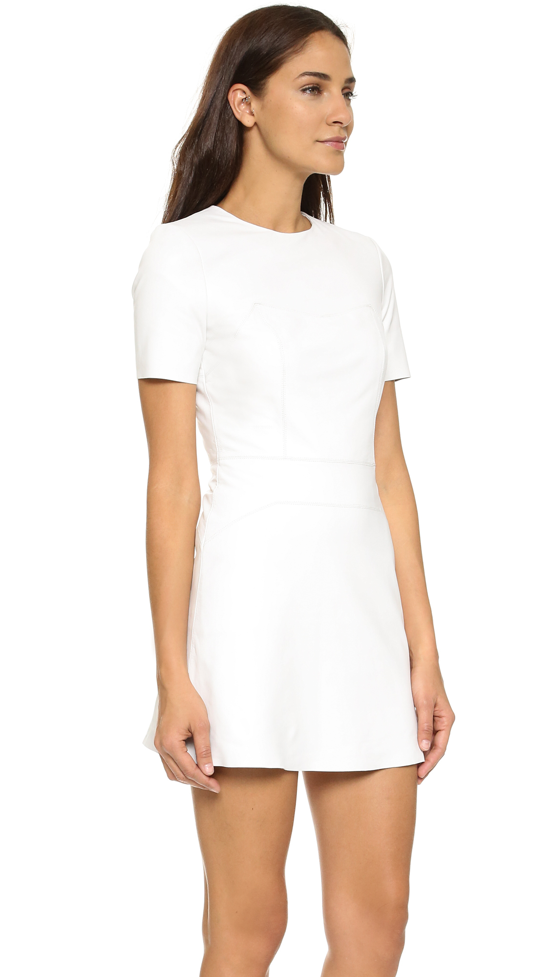 Kendall   kylie Leather Short Sleeve Dress in White | Lyst