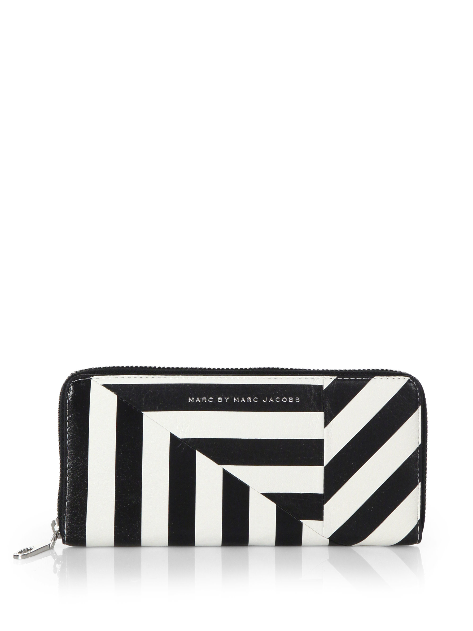 d10d28706b Marc By Marc Jacobs Striped Zip-Around Wallet in White - Lyst
