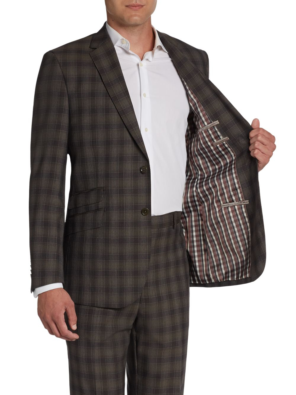 English laundry Plaid Twobutton Wool Slimfit Suit in Brown for Men ...