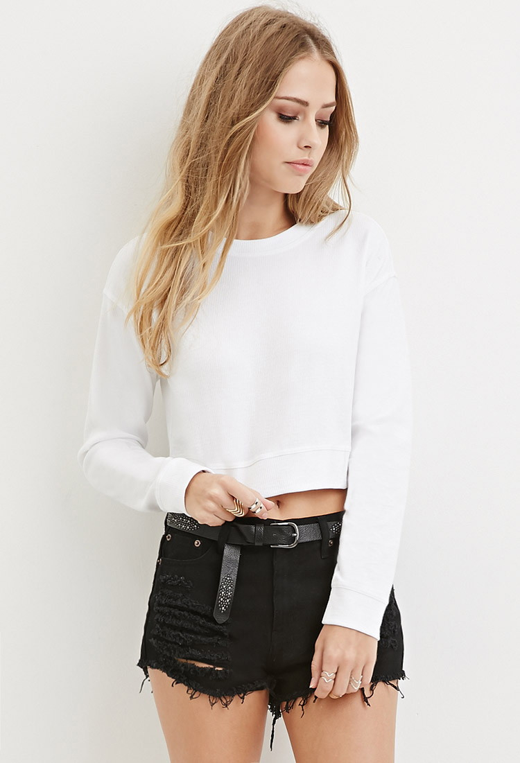 084ba262e9ac4 Lyst - Forever 21 Textured Crop Top in White