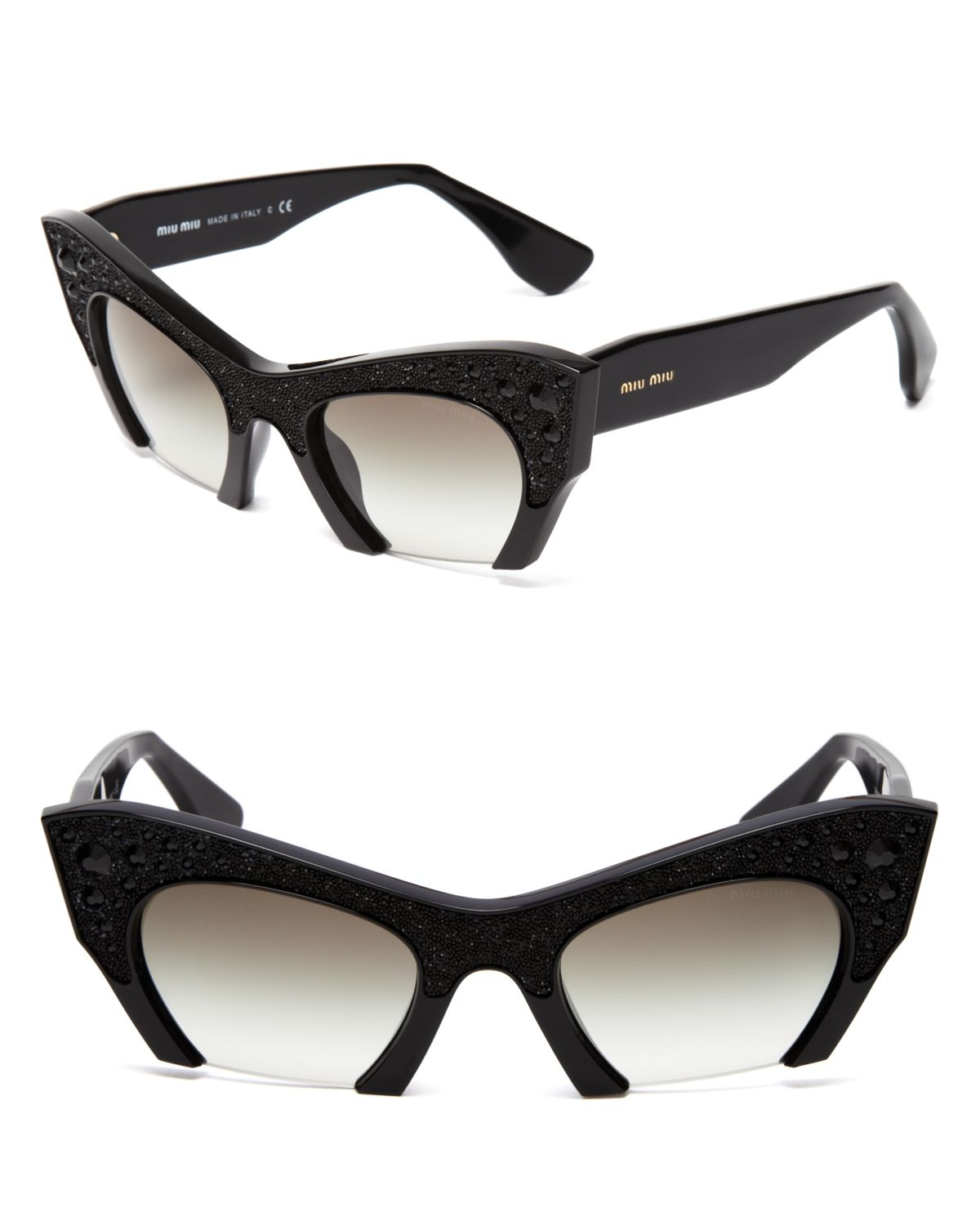 37fa6b656f2 Lyst - Miu Miu Semi-Rimless Embellished Cat Eye Sunglasses in Black