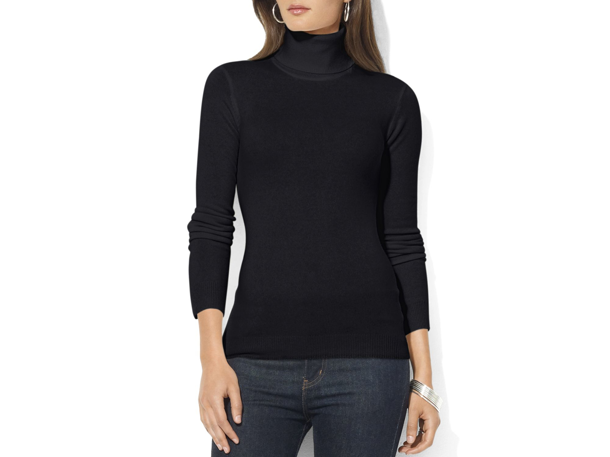 Ralph lauren Lauren Zoe Silk-cotton Turtleneck Sweater in Black | Lyst