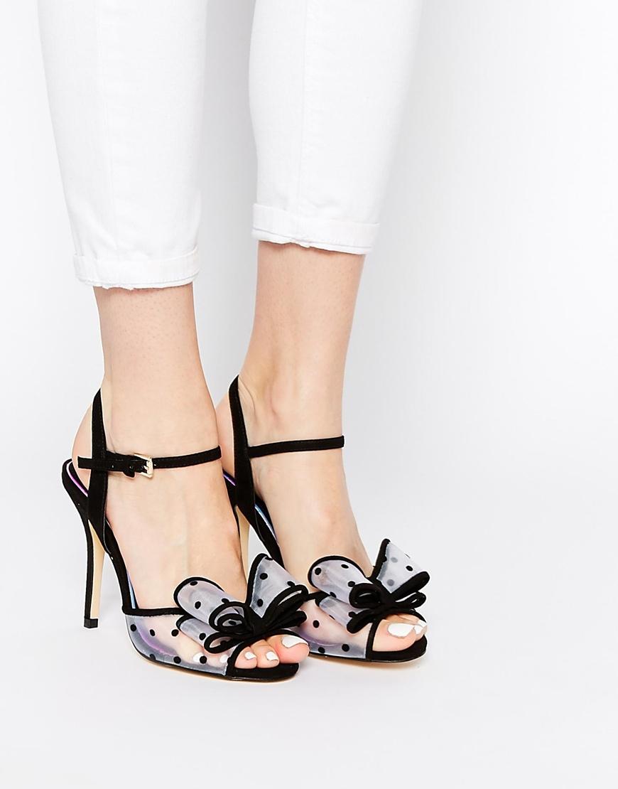 Lyst Miss Kg Florrie Bow Heeled Sandals In Black
