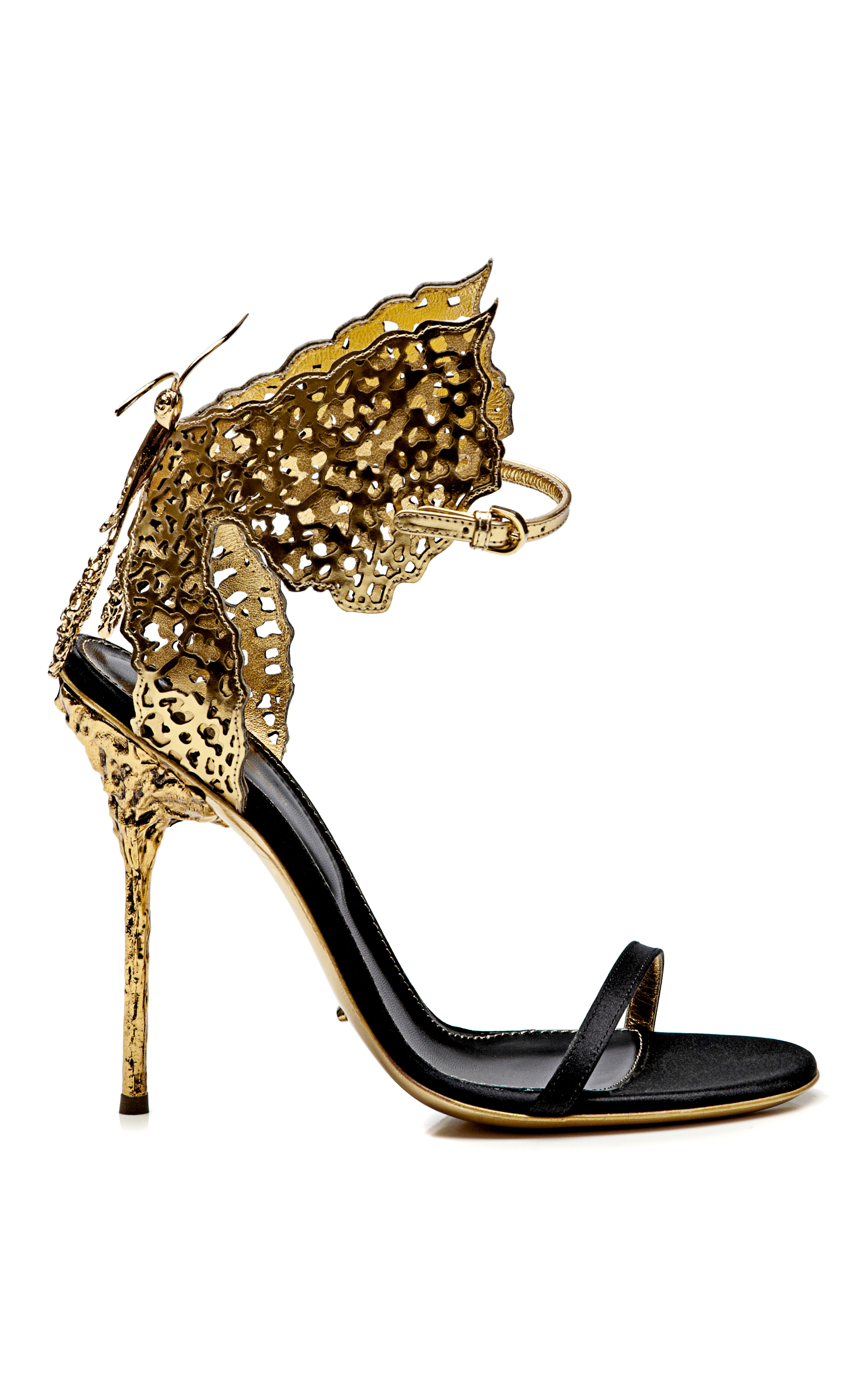 sergio rossi butterfly cutout satin and metallic leather sandals in metallic lyst