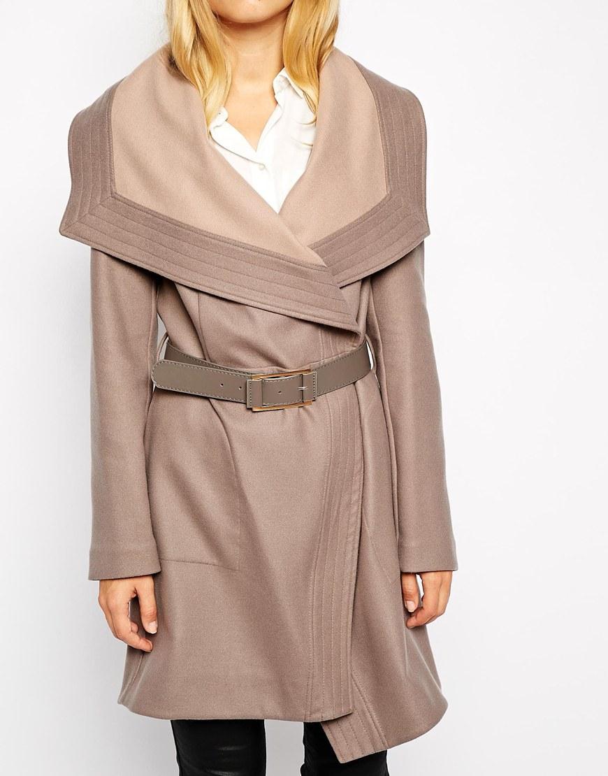 86f12ef79675 Oasis Long Two Tone Drape Coat in Gray - Lyst