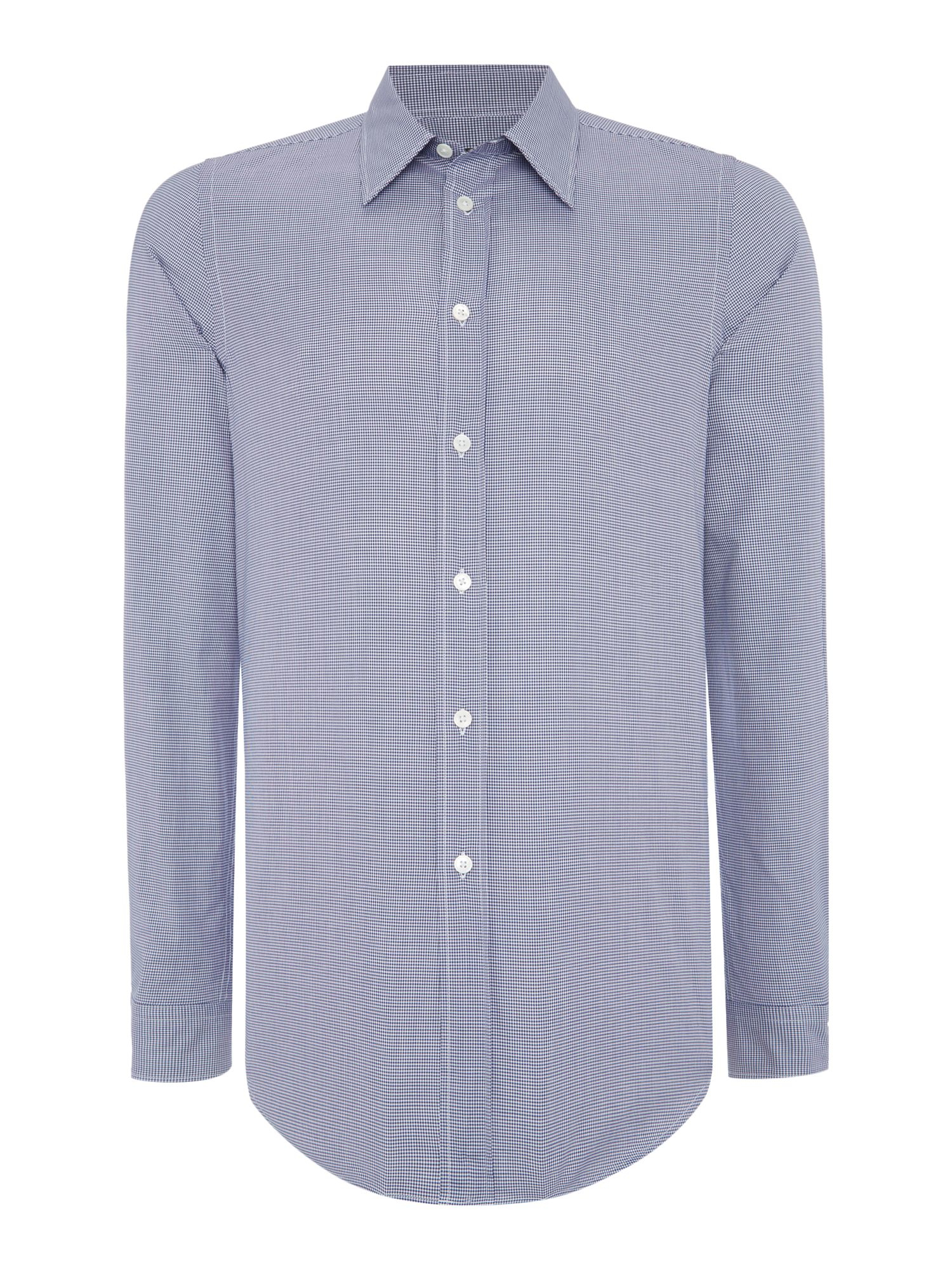 Ps by paul smith slim navy gingham shirt in blue for men for Navy blue gingham shirt