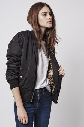 Topshop Leopard Faux Fur Lined Bomber Jacket in Black | Lyst