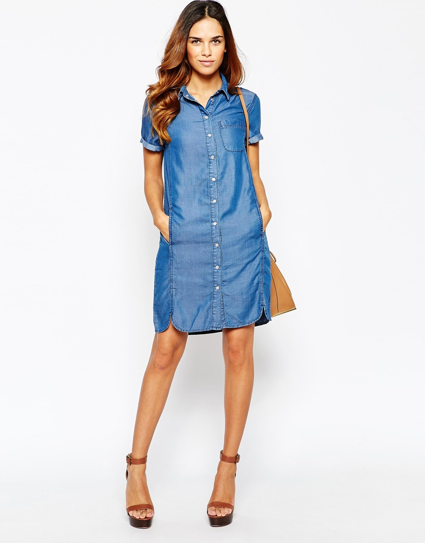 ba1c9f81fd Lyst - Warehouse Denim Shirt Dress in Blue