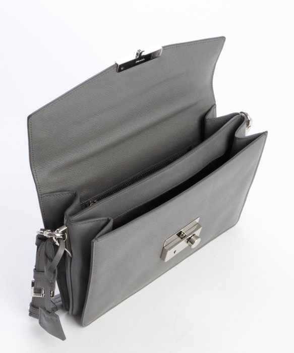 Prada Marble Grey Leather Convertible Clutch Bag in Gray (grey)   Lyst