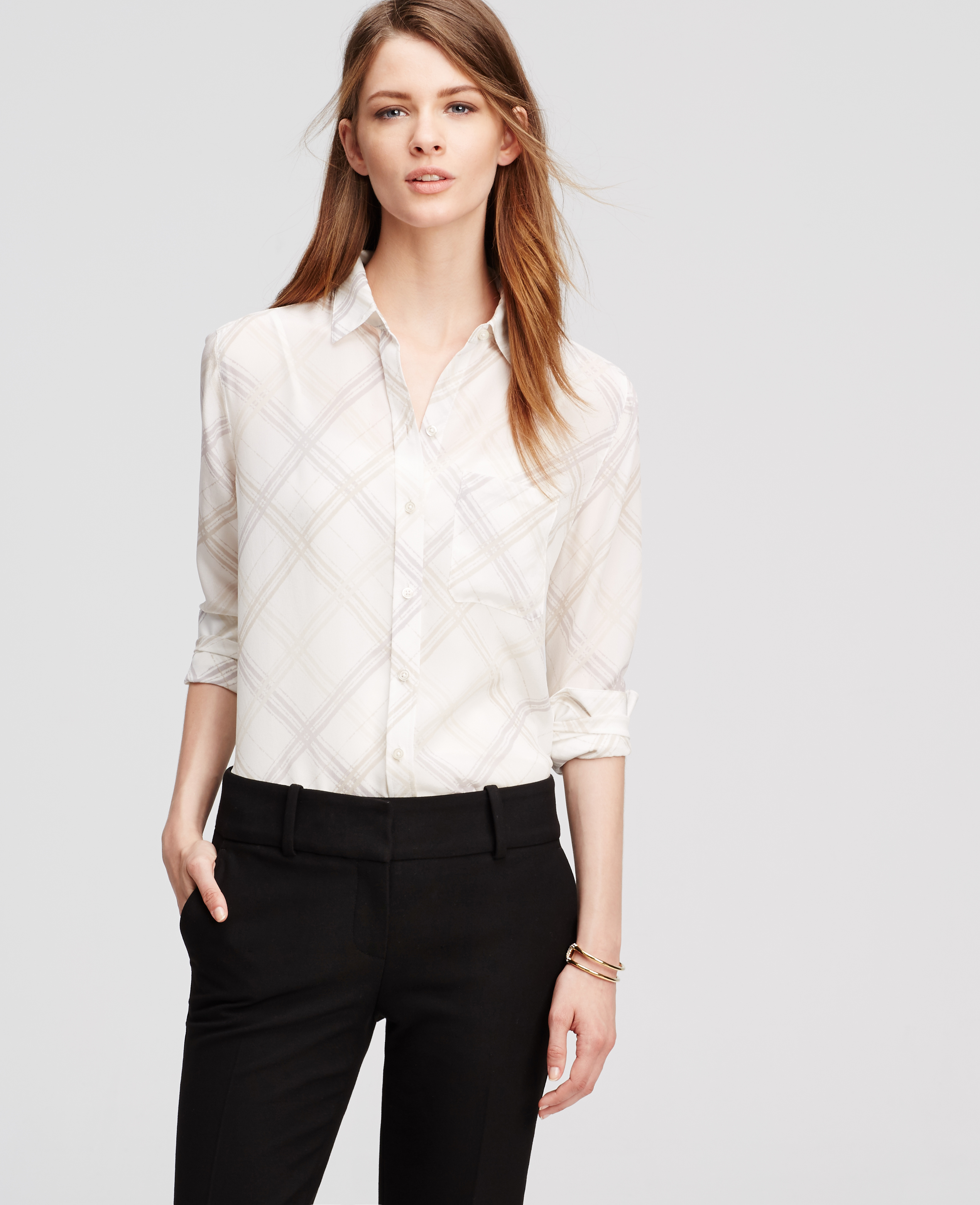 White silk blouse ann taylor collar blouses for Non see through white dress shirt