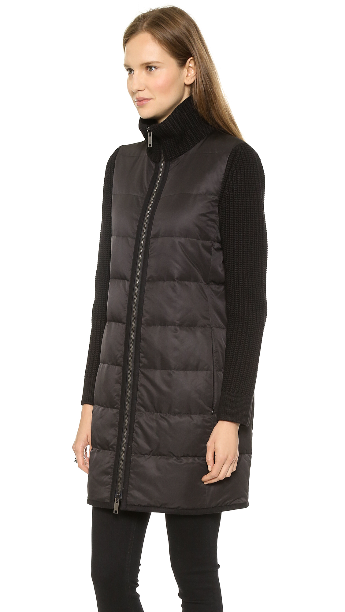 Lyst Dkny Puffer Coat With Knit Sleeves Blackblack In Black