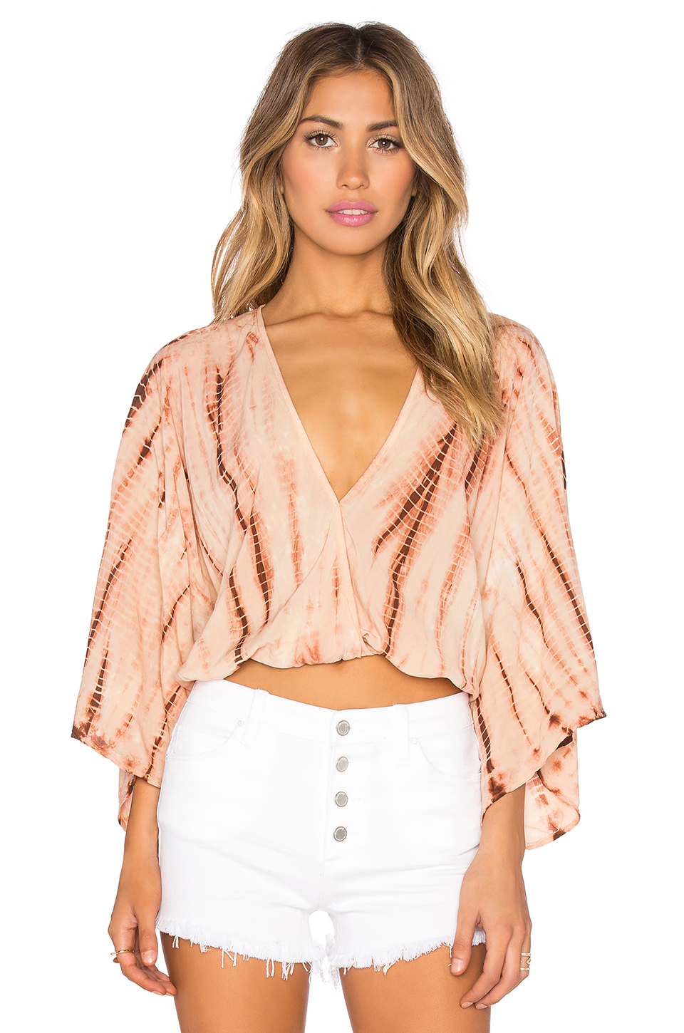 Lyst - Blue Life Kimono Crop Top in Pink