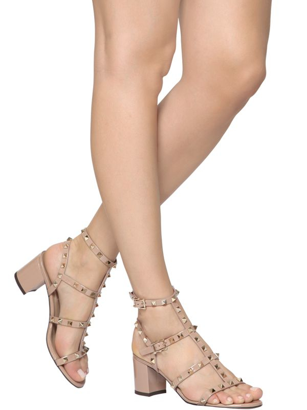 1b84e626232 Lyst - Valentino 60mm Rockstud Patent Leather Sandals in Natural