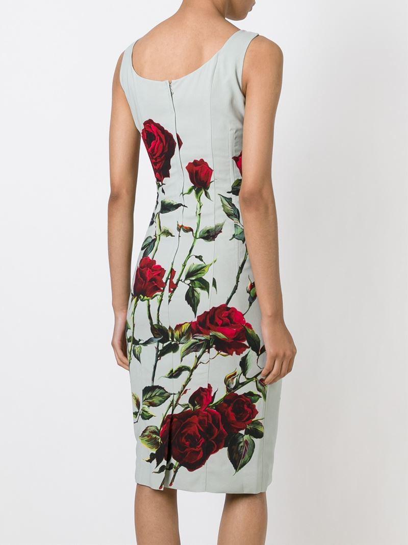 Dolce  amp  Gabbana Rose Print Midi Dress in Green - Lyst 6771b9553fdae
