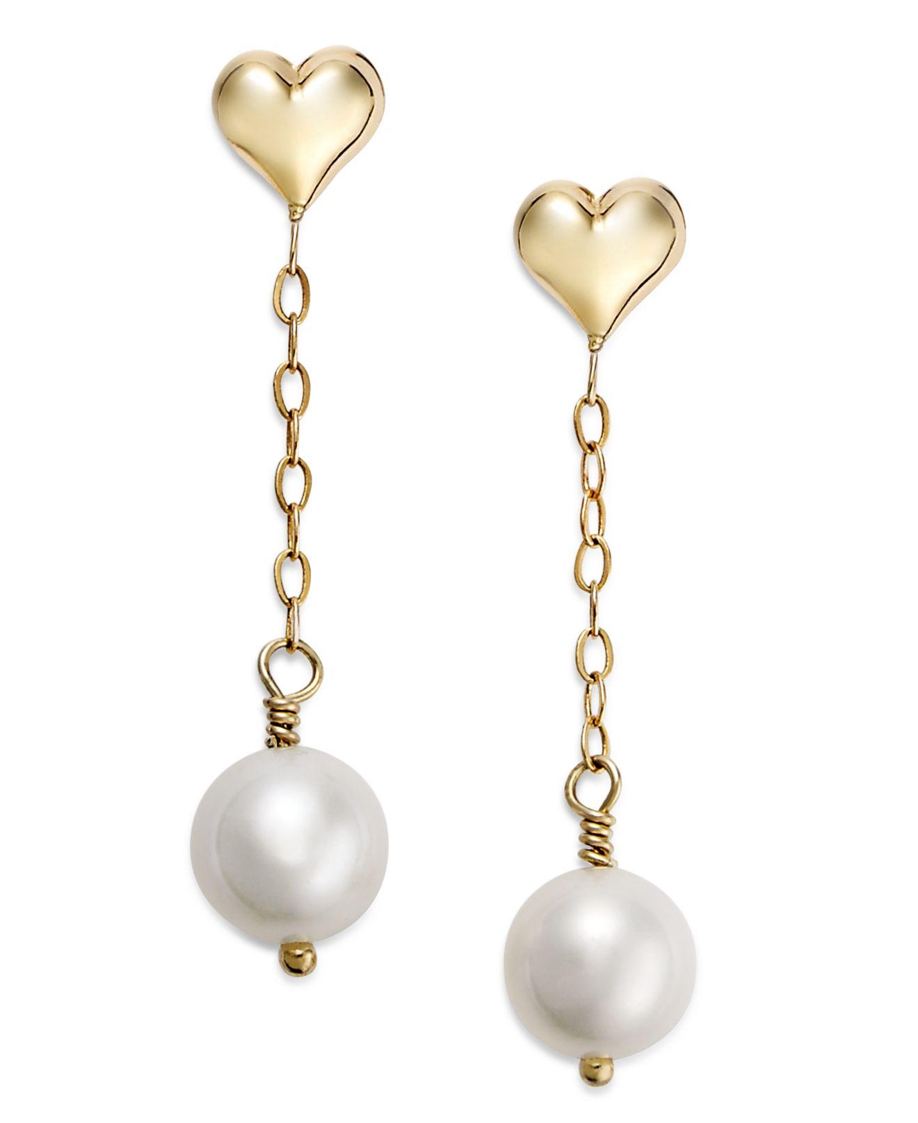 Macy S Pearl Earrings 14k Gold Cultured Freshwater Heart