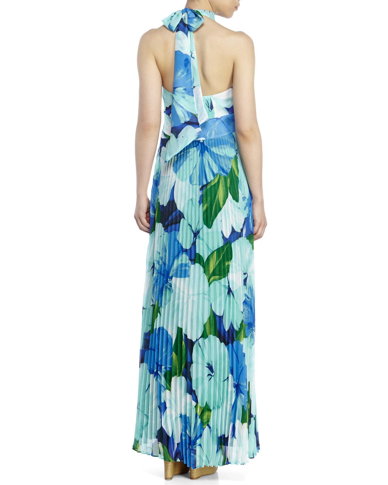Eliza J Pleated Floral Chiffon Maxi Dress In Green Lyst