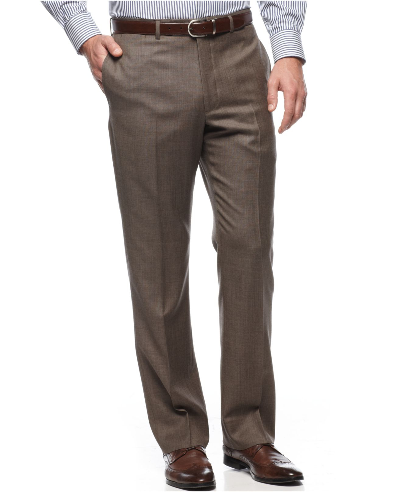 Lyst Tommy Hilfiger Taupe Sharkskin Trim Fit Pants In
