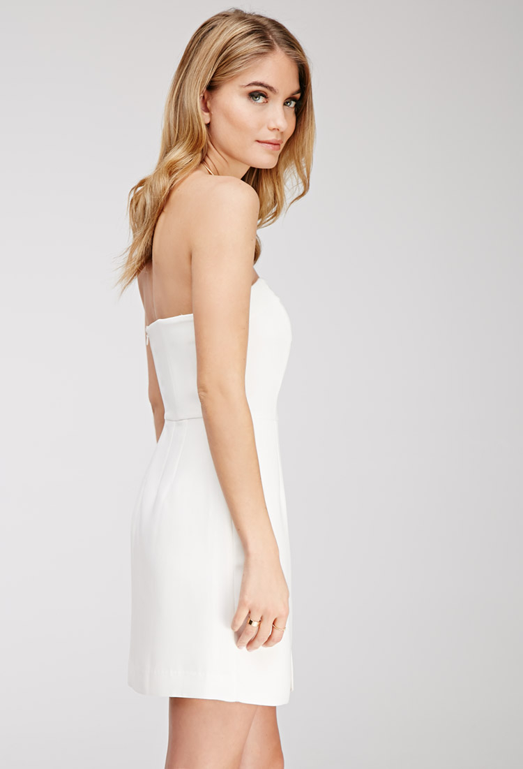 Forever 21 Contemporary Strapless Mini Dress in White  Lyst