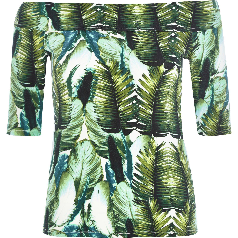 River Island Green Palm Leaf Print Bardot Top In Green Lyst