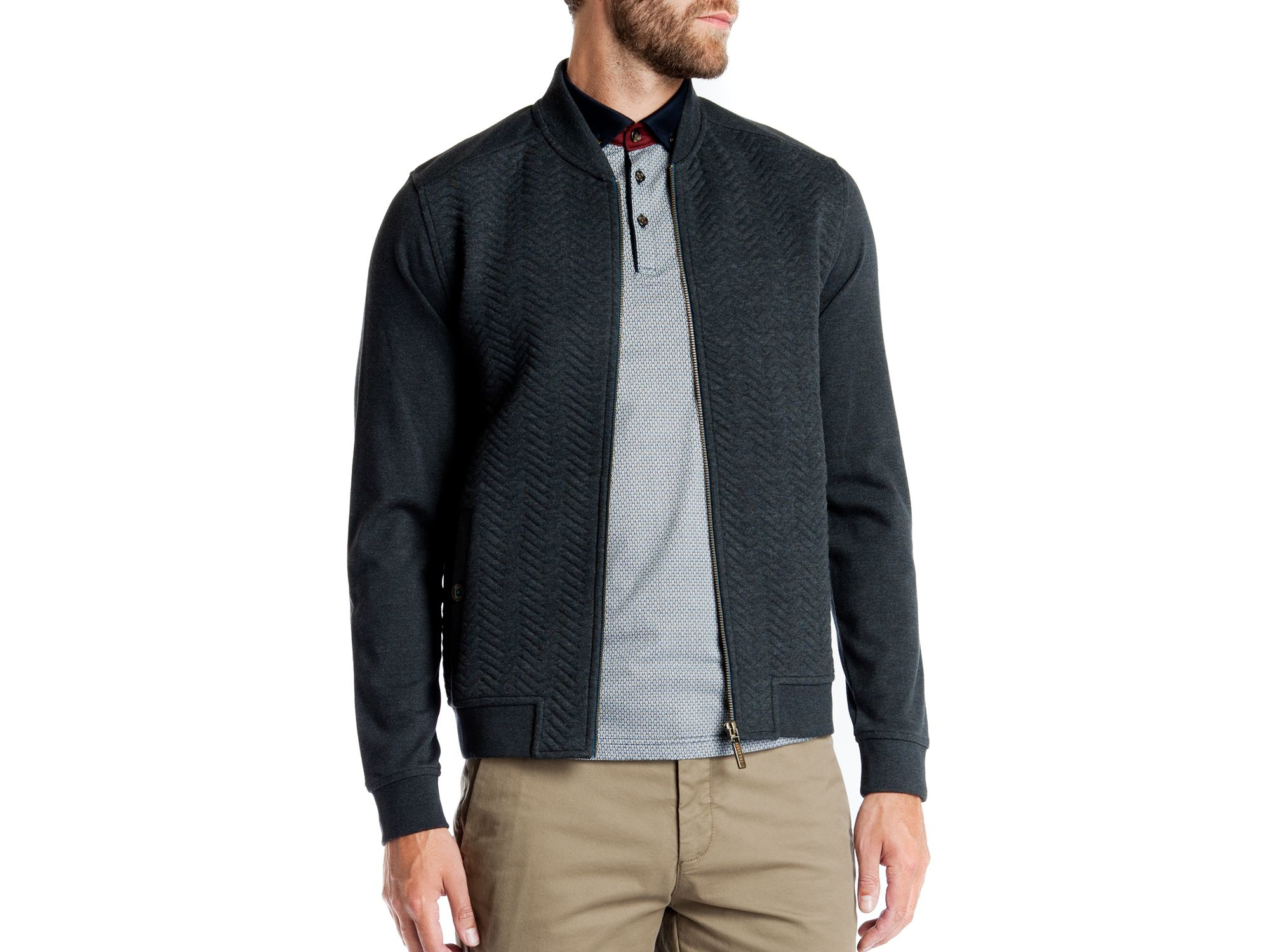 95f838dbd Lyst - Ted Baker Deeaz Quilted Herringbone Bomber Jacket in Gray for Men