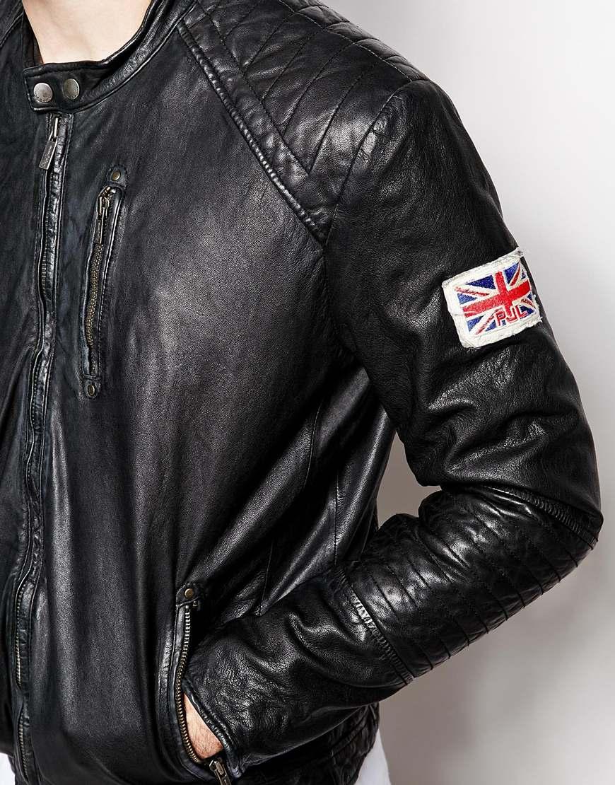 precio baratas Precio pagable zapatos de separación Pepe Jeans Black Pepe Leather Jacket New Lennon Slim Fit Biker for men