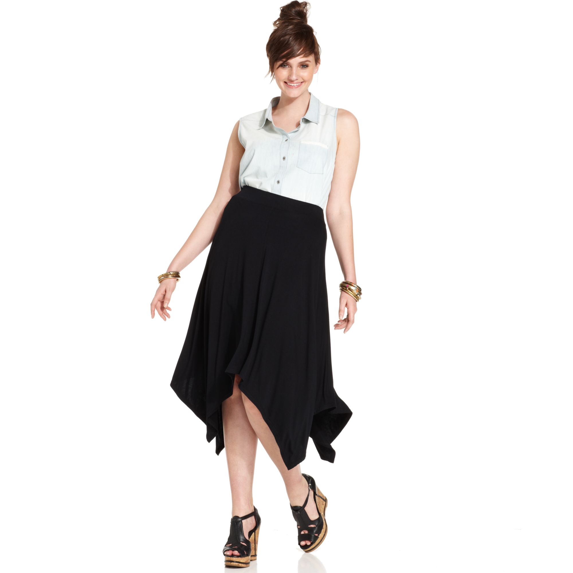American Rag Plus Size Handkerchief Hem Skirt In Black Lyst