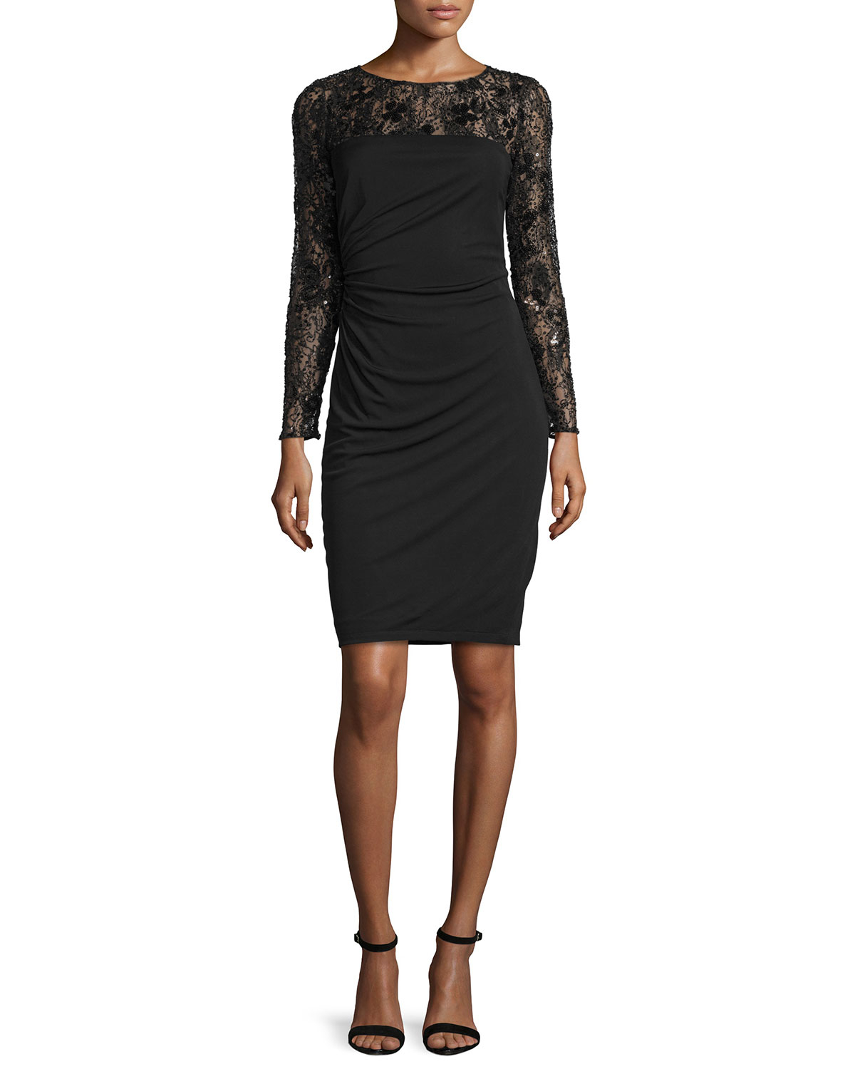 David Meister Long Sleeve Lace Bodice Ruched Cocktail