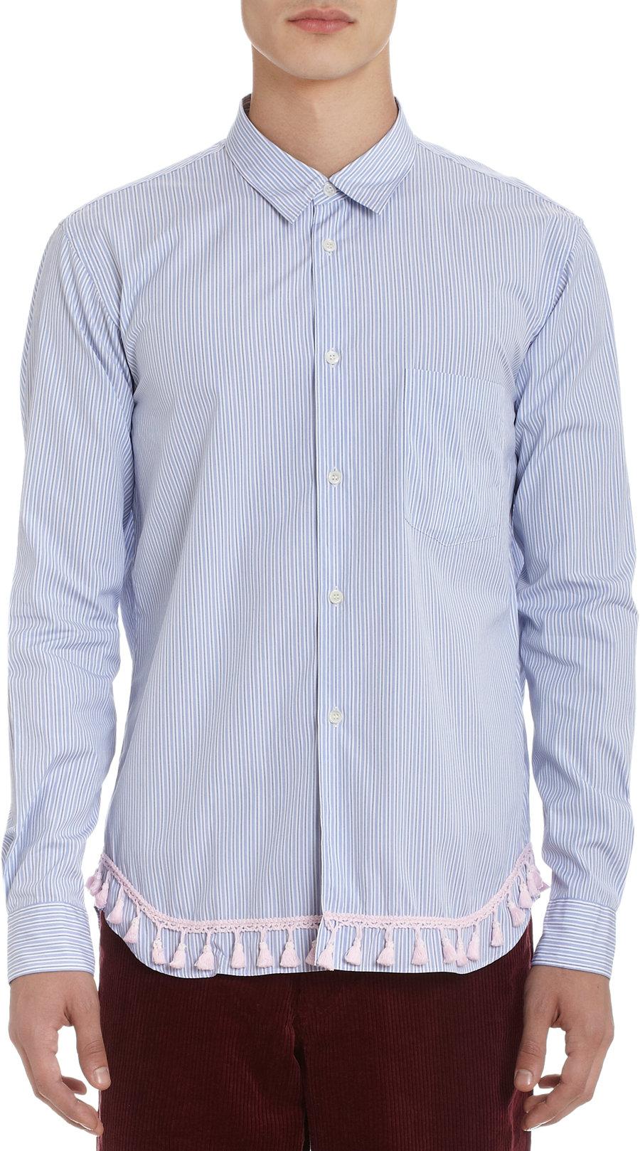 Comme des gar ons fringe bottom shirt in blue for men lyst for Mens shirt with tassels
