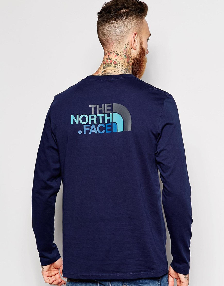 lyst the north face t shirt with easy logo long sleeves in blue for men. Black Bedroom Furniture Sets. Home Design Ideas