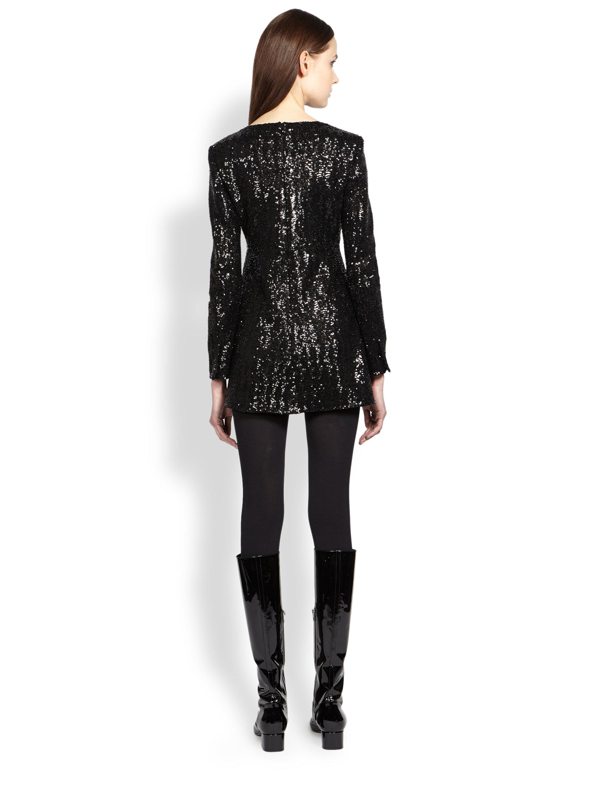 Lyst Saint Laurent Long Sleeve Sequined Dress In Black