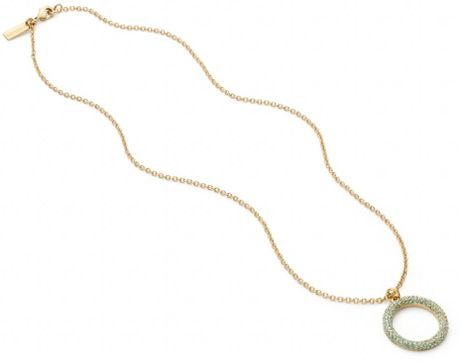 Coach Pave Open Circle Pendant Necklace In Silver Silver