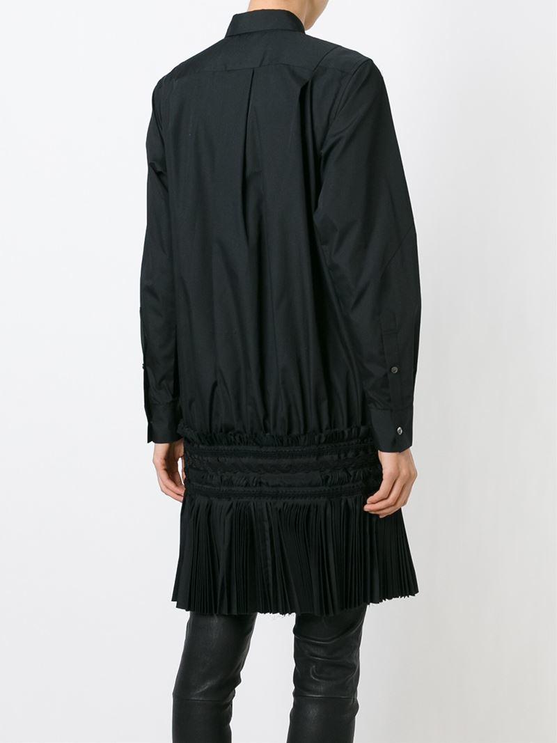 Sacai pleated hem shirt dress in black lyst for Black pleated dress shirt