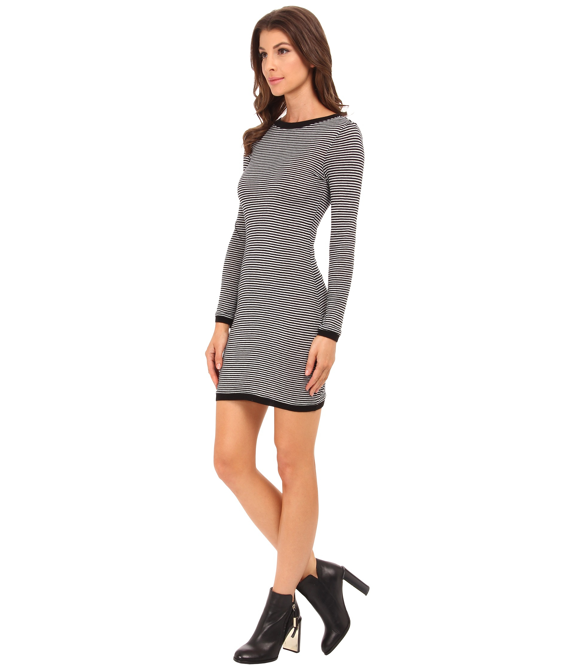 French connection starzy stripe dress 71efb in black lyst for French connection shirt dress
