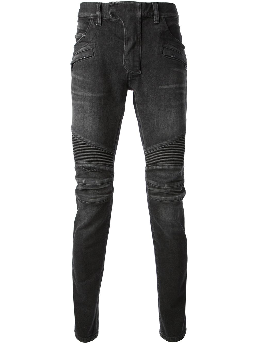 Balmain Skinny Moto Jeans in Black for Men | Lyst