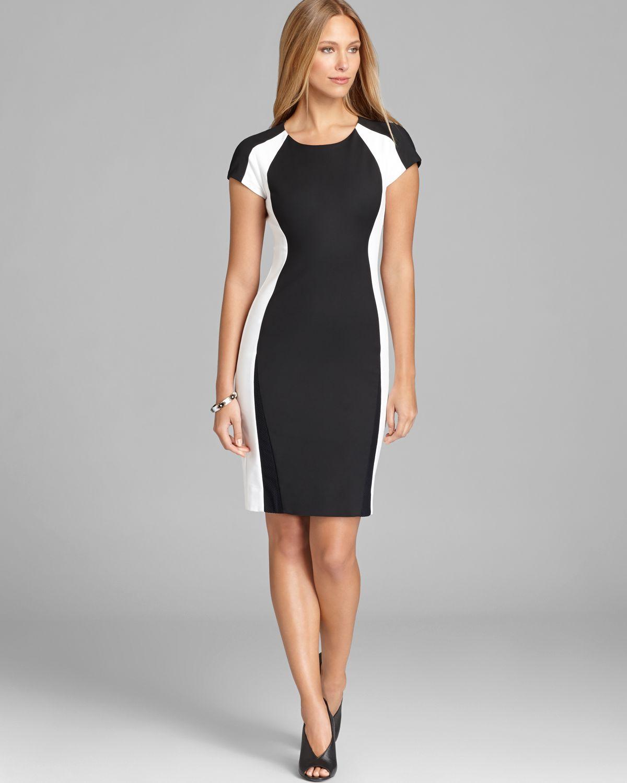 Colour block dress black and white