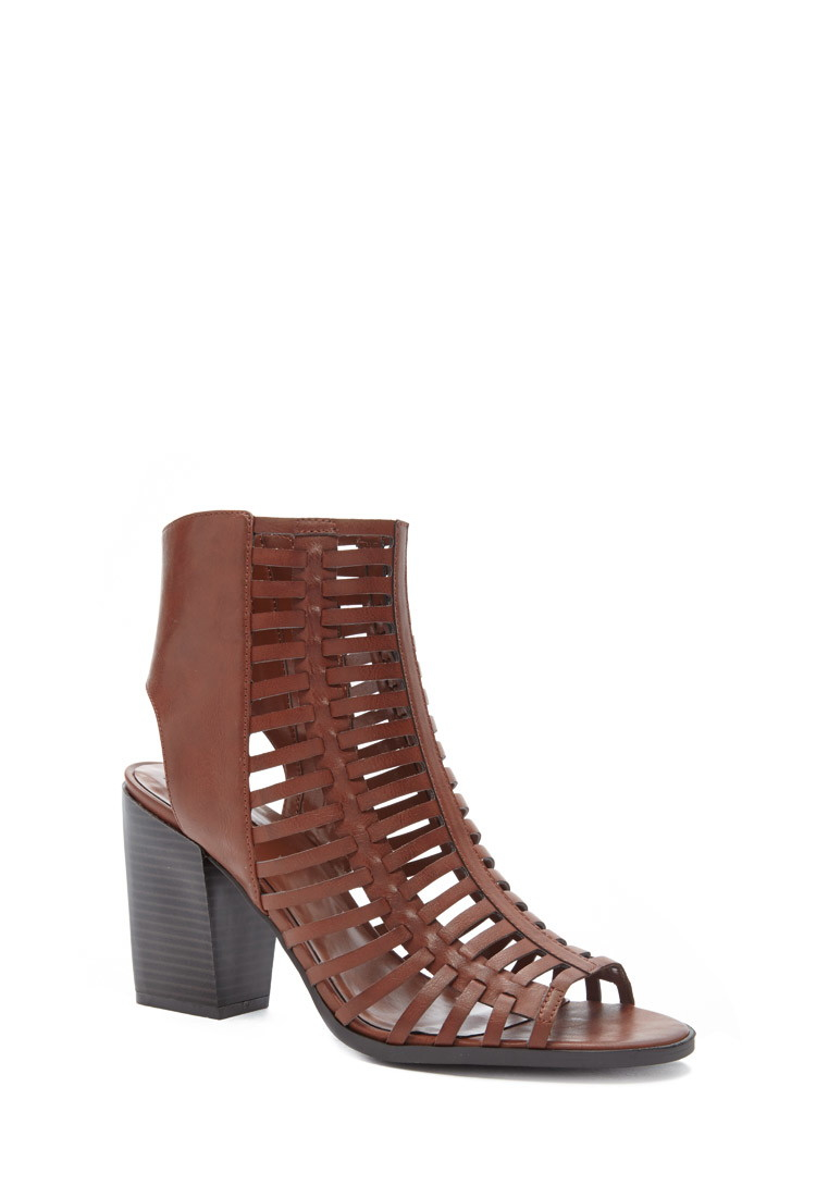 Lyst Forever 21 Cutout Faux Leather Sandals In Brown
