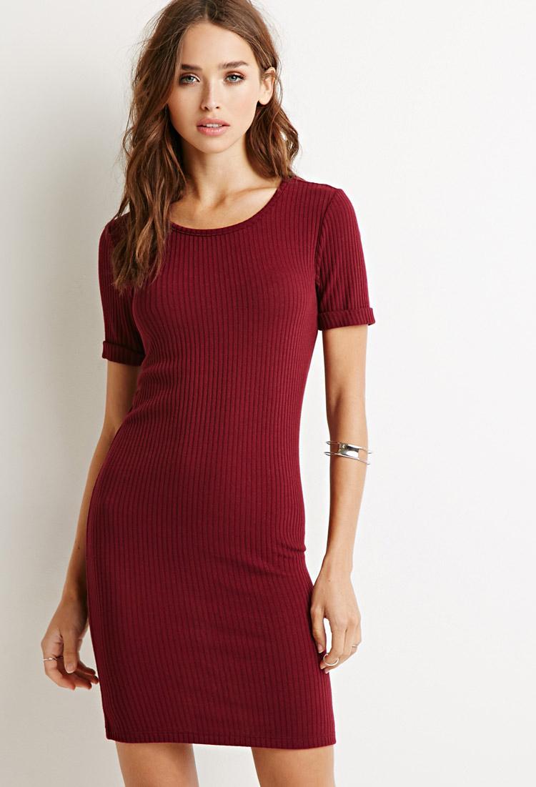 Ribbed knit bodycon dress long sleeve