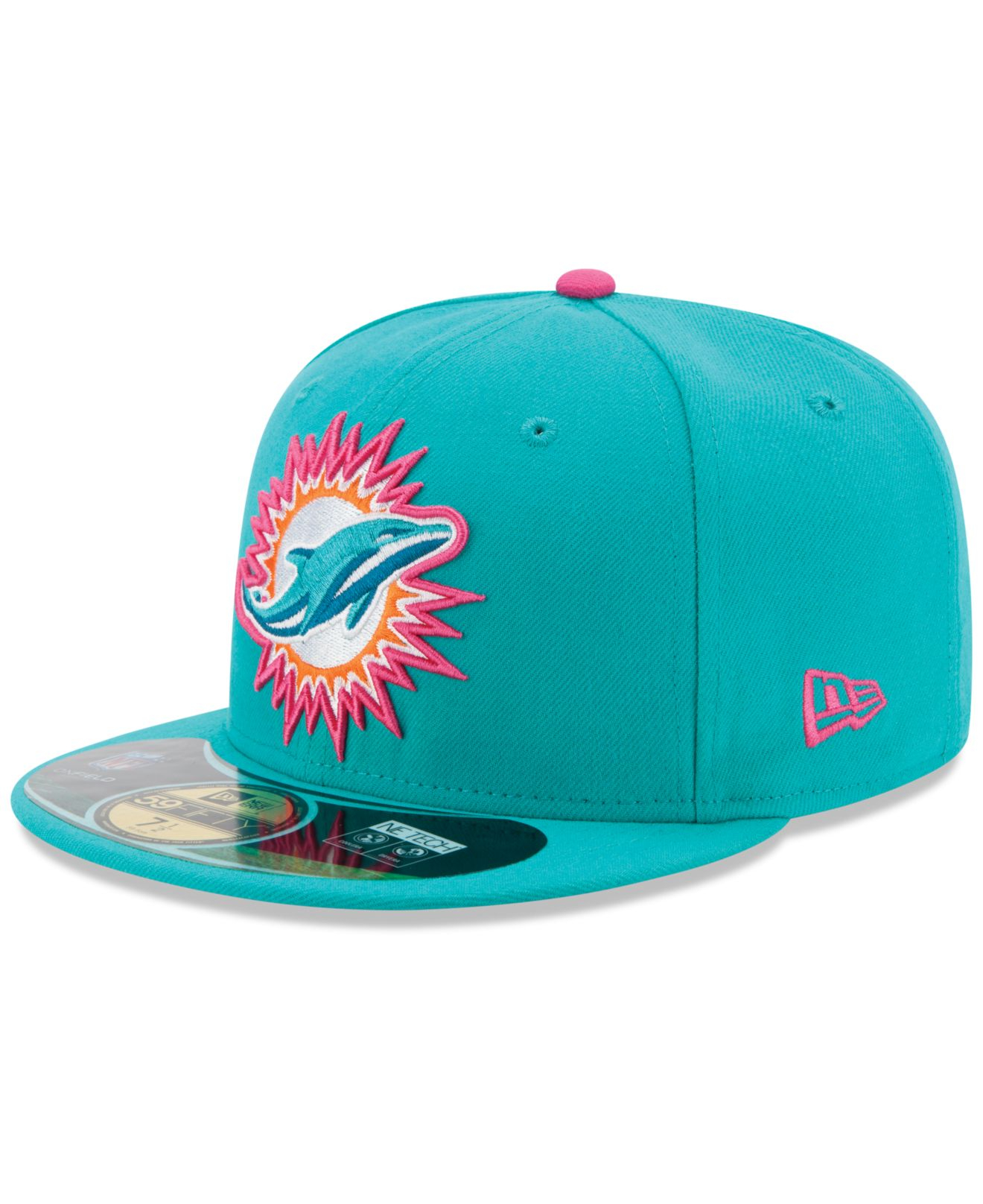 1c50736e4 where to buy lyst ktz miami dolphins breast cancer awareness 59fifty cap in  blue for men