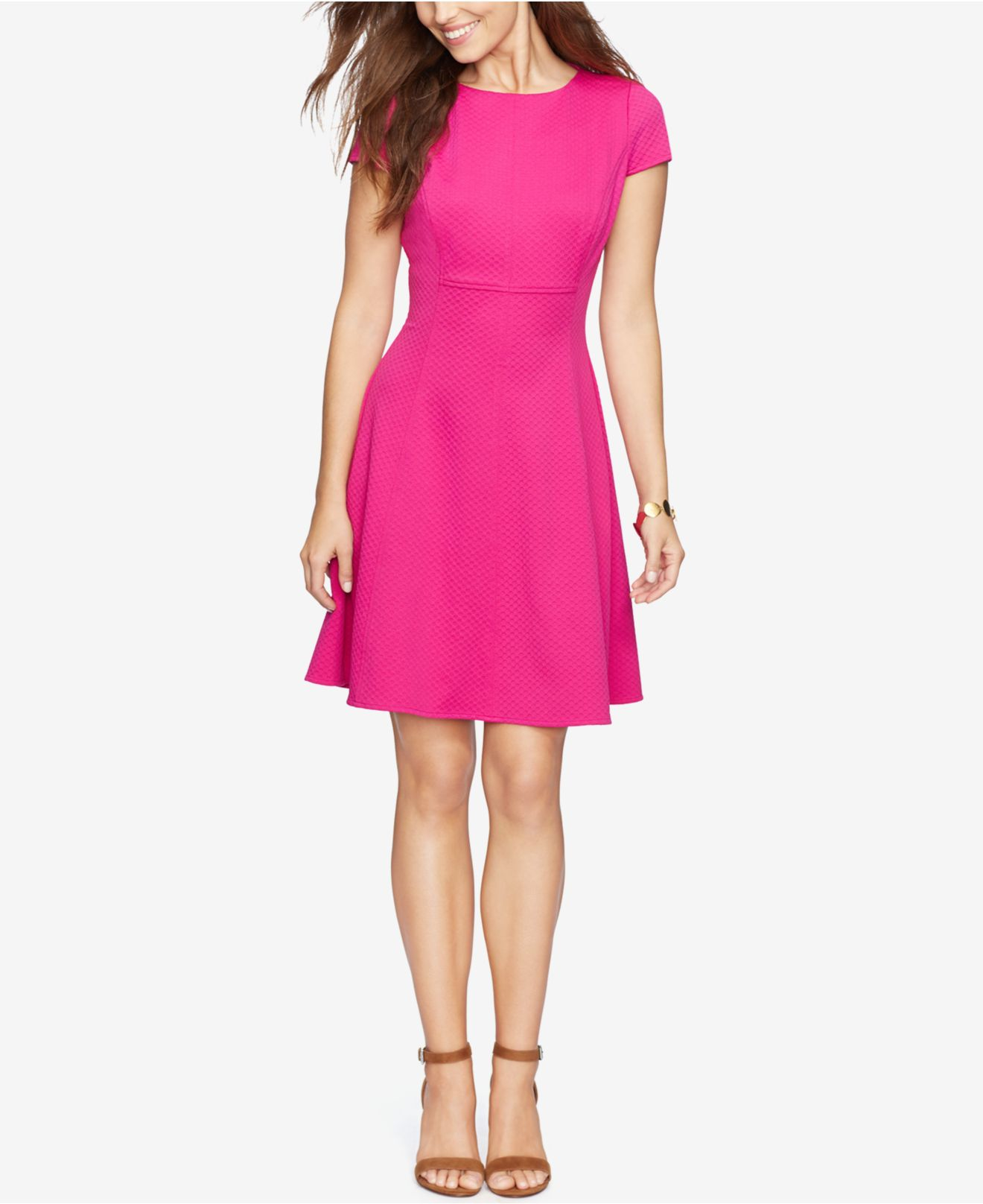 American Living Waffle Knit Jacquard Dress In Pink Lyst