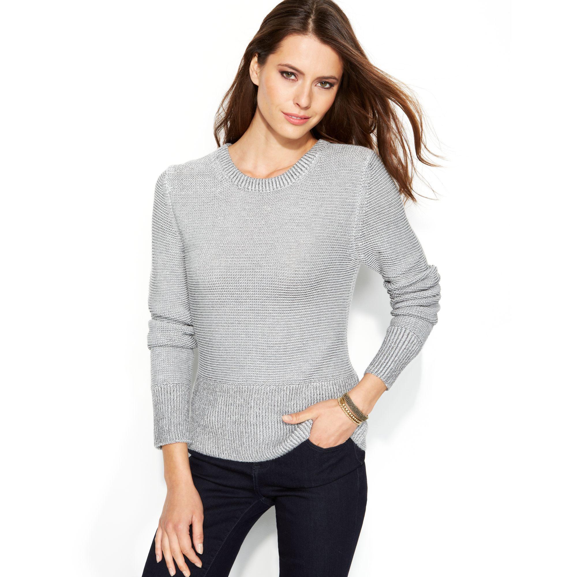 calvin klein jeans longsleeve textured crewneck sweater in. Black Bedroom Furniture Sets. Home Design Ideas