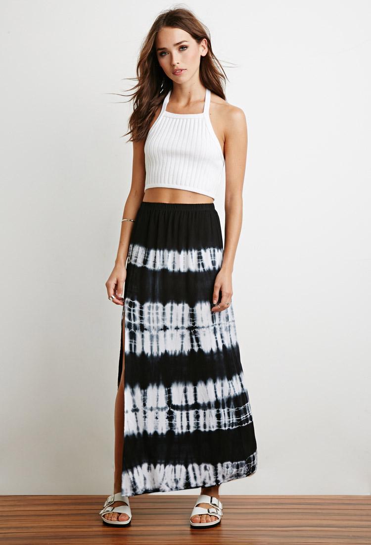 Forever 21 Side-slit Tie-dye Maxi Skirt in Blue | Lyst