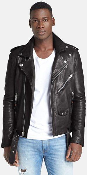 Blk Dnm Leather Jacket 5 Leather Moto Jacket In Black