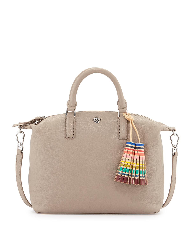 39301cb86f3 Lyst - Tory Burch Small Slouchy Satchel Bag W tassel in Natural