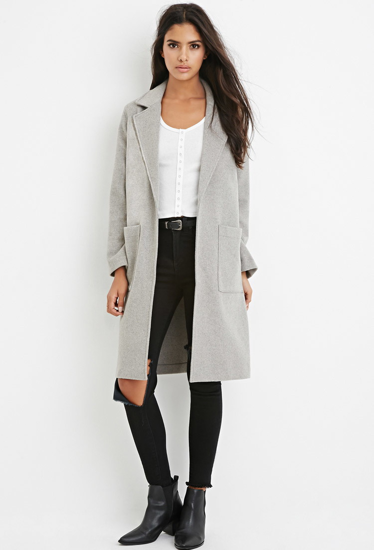 Forever 21 Longline Wool-blend Coat in Gray | Lyst
