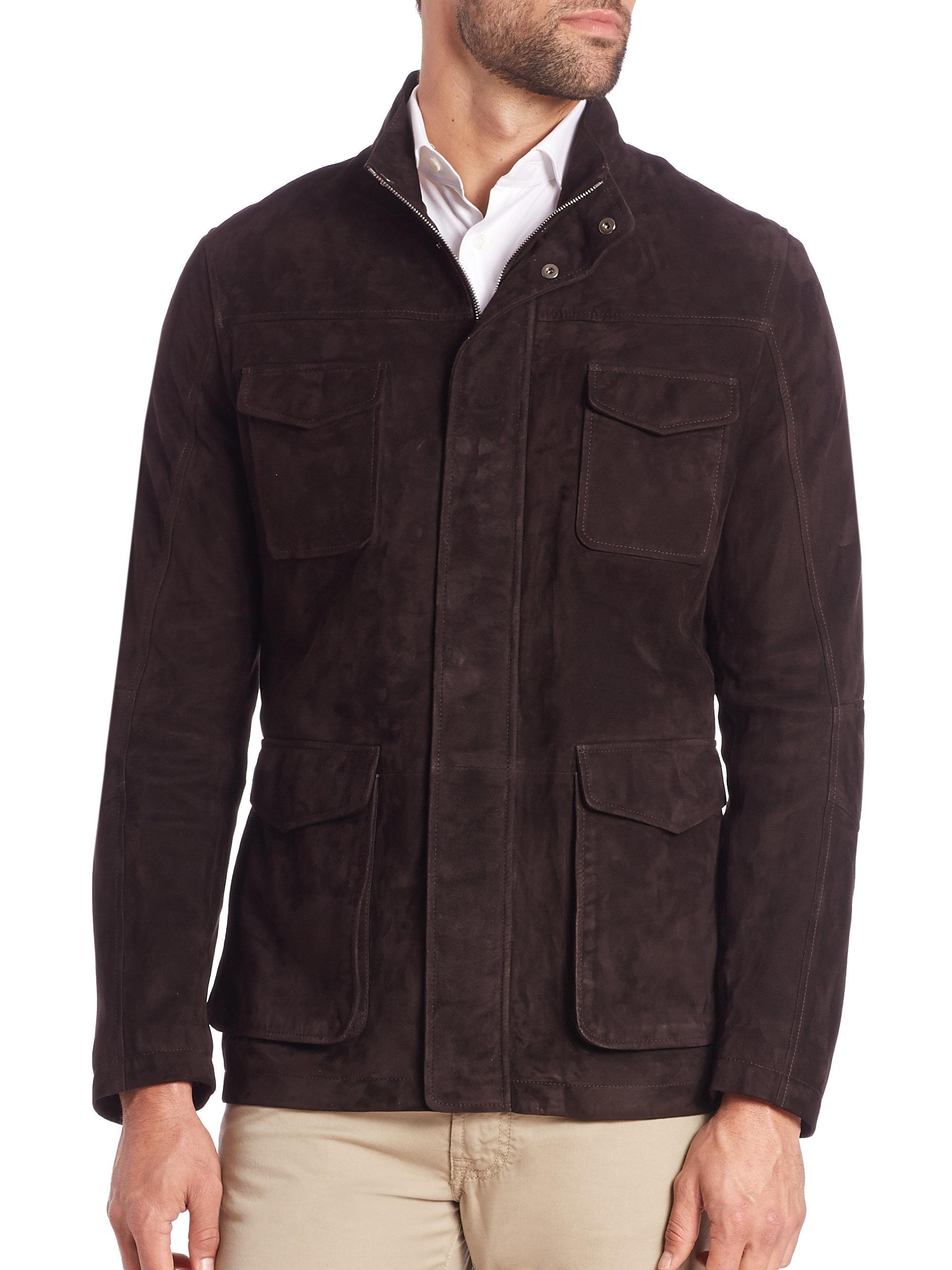 Corneliani Suede Field Jacket In Brown For Men Lyst