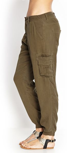 Forever 21 Woven Utility Pants In Khaki Olive Lyst