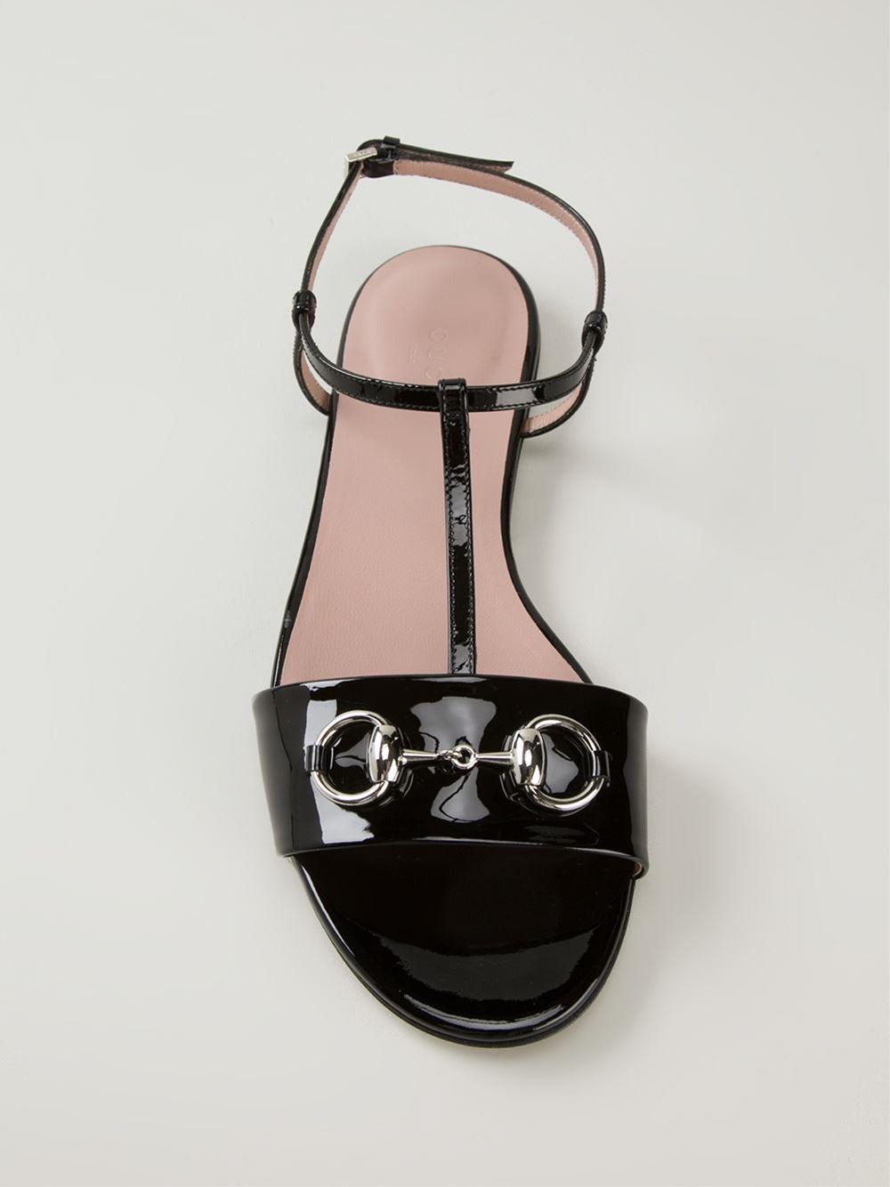 c4d44937a467 Lyst - Gucci Horsebit Sandals in Black